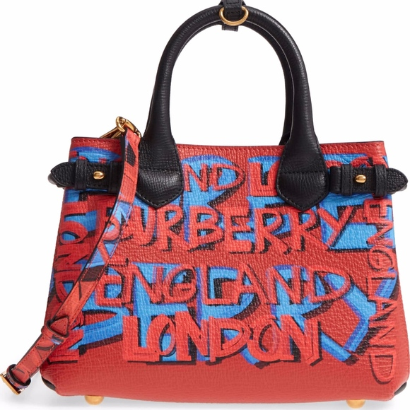 3aca89fa5fee BURBERRY Small Banner Graffiti Leather Tote
